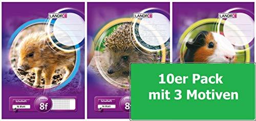 Landre Schulheft A5, Lineatur 8 (rautiert mit Rand), 16 Blatt, 3 Motive sortiert, lila, 10er Pack