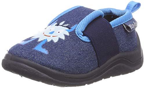 Playshoes Zapatillas Monstruos, Pantuflas para Niños, Azul (Jeansblau 3), 20/21 EU