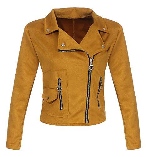Malito Damen Jacke | Velours Jacke | Biker Jacke mit Reißverschluss | Faux Leather - leichte Jacke 19617 (dunkelgelb, XL)