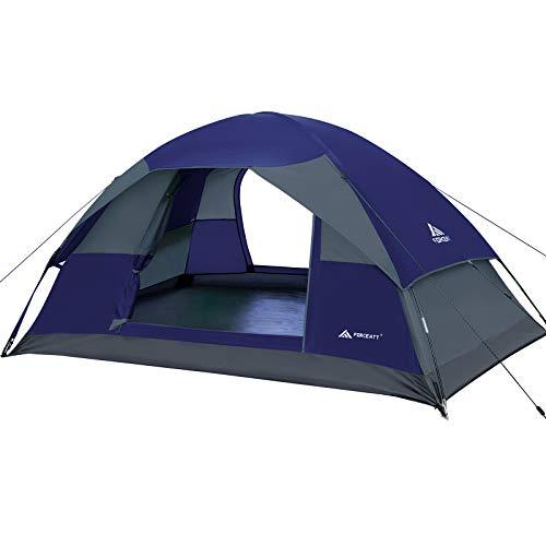 Forceatt Campingzelt für 2 Personen mit Doppeltüren, wasserdicht und Winddicht, Rucksack, belüftet und für Outdoor- und Wandertouren geeignet