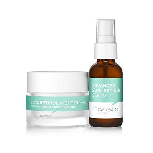 Retinol Serum 2.5%, 1oz & Retinol Cream 2oz Complete Anti Aging Skincare Combo Set