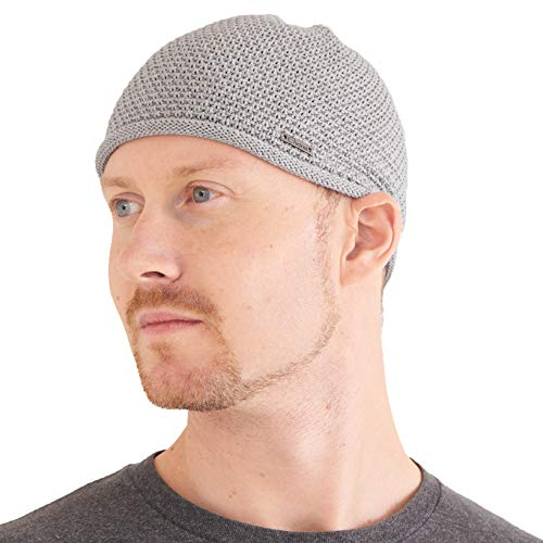 Cappello Uomo Berretto Kufi Hat - Cappello Teschio 100% Cotone Uncinetto Chimio Cappello Beanie Musulmano Grigio