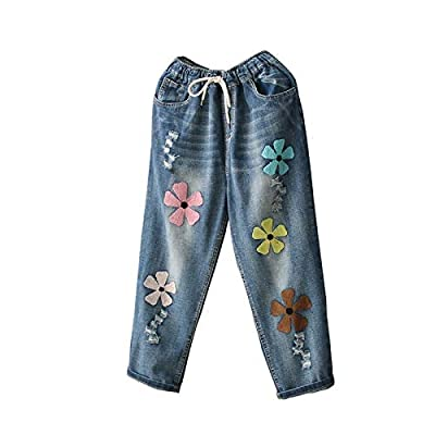 HOSD2019 New Female Line Sen Hole Letter Embroidered Flowers Loose Nine Points Jeans Trousers Women Blue from HOSD