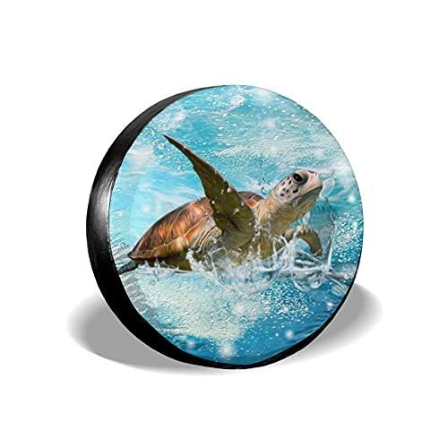 Yaxinduobao Baby Sea Turtle Cubierta de neumático de Repuesto, Protector de Rueda de neumático Universal Impermeable a Prueba de Polvo para Coche de 16 Pulgadas