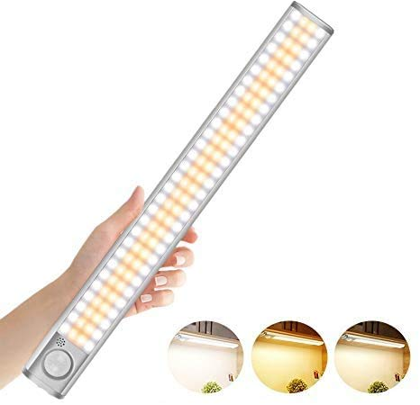 30cm Luz LED con Sensor de Movimiento, 3 Colores Luz Armario LED con Tira Magnética, Recargable Luz LED Adhesiva, Luces para Armarios, Cocina, Escalera, Garaje, Pasillo, Emergencias