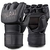 GINGPAI Half Training Boxing Mitts Gloves for Men Women, Training Gloves, Sparring Gloves for Punching Bag, Kickboxing, Muay Thai, MMA, UFC (Black Black Large)
