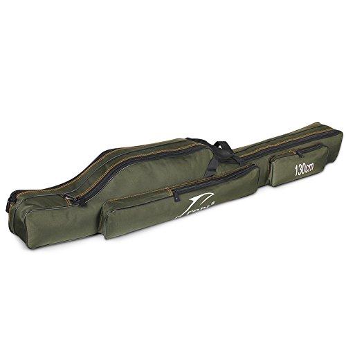 WATERFLY Angeltasche Rutentasche Tragbare 130cm Angelkoffer Allround Angelrute Rutenfutteral wasserdichte Große Kapazitäts - 2 Fächer