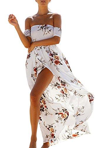 GREMMI Sommerkleider Damen Blumen Maxi Kleid Schulterfreies Abendkleid Strandkleid Party Schulter Kleider Chiffon Kleid- Gr. 44(2XL) ,Weiß