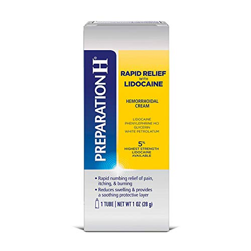 Preparation H Rapid Relief with Lidocaine Cream Hemorrhoid Symptom Treatment, Numbs Pain, Burning, and Itching, Reduces Swelling, 1 Ounce Tube