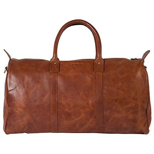 HOLZRICHTER Berlin No 17-1 (XL) - Premium Vintage Weekender Reisetasche, Sporttasche & Handgepäck aus Leder - Cognac-Braun