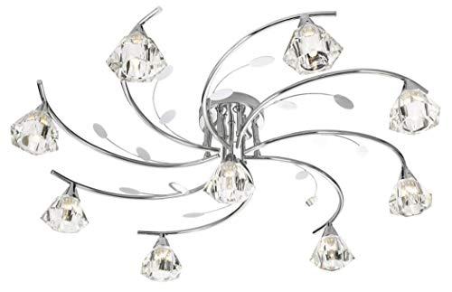Searchlight Sierra - Plafón de 9 luces, de varios brazos, semiempotrado, cromado y vidrio, G9