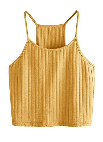 SheIn Women's Summer Basic Sexy Strappy Sleeveless Racerback Crop Top Yellow Large
