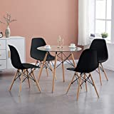 H.J WeDoo Esszimmergruppe Moderner Glastisch Rund Esstisch mit 4 Stühlen Geeignet für Esszimmer Küche Wohnzimmer, Transparent & Schwarz