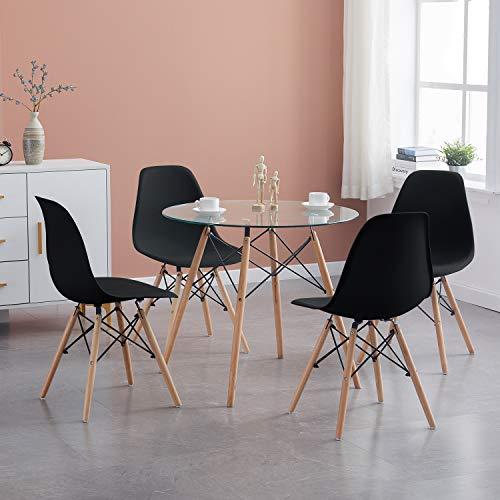 H.J WeDoo Esszimmergruppe Moderner Glastisch Rund Esstisch mit 4 Schwarz Stühlen Geeignet für Esszimmer Küche Wohnzimmer