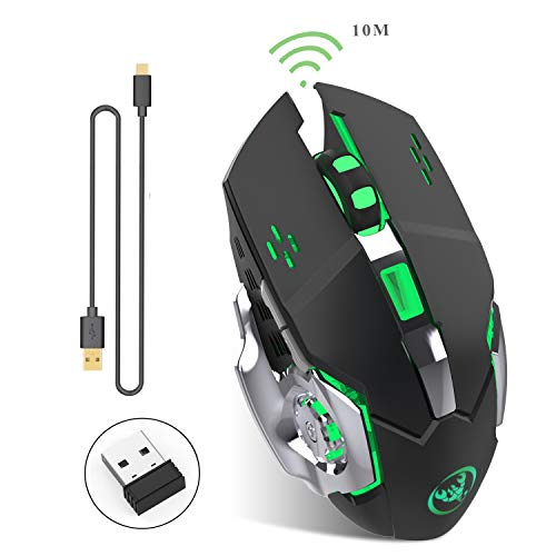 ZERODATE Kabellose Gaming-Maus 2,4GHz mit USB Nano Empfänger,7-Farbiger Beleuchtung, Wiederaufladbar (600 mAh Akku) (M70 Schwarz)
