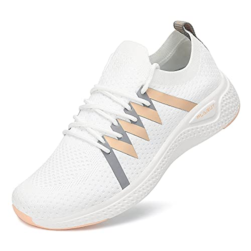 FLARUT Turnschuhe Damen Leichtgewichts Laufschuhe Atmungsaktiv Sportschuhe Straßenlaufschuhe Freizeit Schuhe für Outdoor Fitness Gym Sneaker Weiß 38