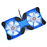 Black No Light Foldable USB Laptop Cooling Pads with Double Fans Mini Octopus Notebook Cooler Cooling Pad for 7-15 Inch Notebook Laptop