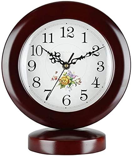 X&Z-XAOY Reloj De Escritorio De Madera Clásico Reloj De Mesa Retro Silent Vintage Sin Tictac Movimiento De Cuarzo De Pilas Fácil De Leer para La Decoración del Hogar (Color : Brown)