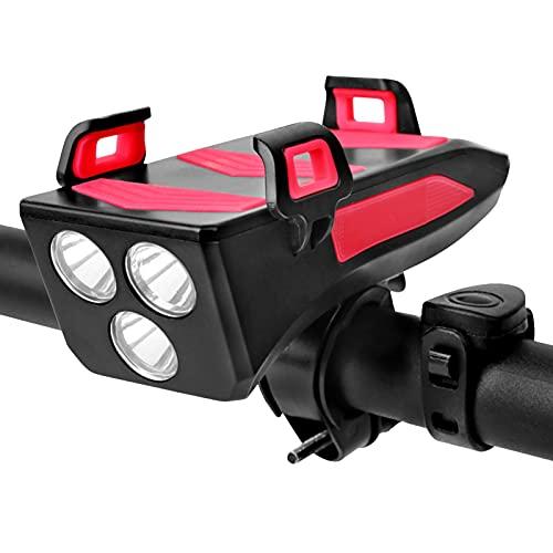 HTTC Luz de Bicicleta, 4 en 1 Bicicleta Multifuncional Luz Delantera, con Las Funciones de la luz de la Bicicleta, la bocina, el Soporte para teléfonos móviles, el Banco Red-S