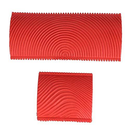 Tarente 2Pcs / Set Gummi gezahnt Holzmaserung Effekt Pinsel Malwerkzeuge DIY Wanddekoration