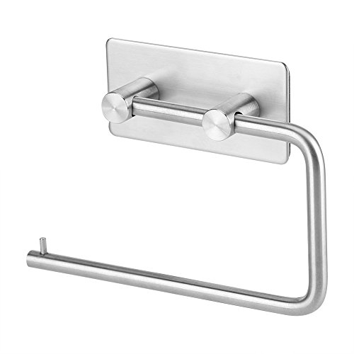 Fdit Porte-Papier Toilettes en Acier Inoxydable Auto-adhésif Distributeur Rouleau de Papier hygiénique Support Mur
