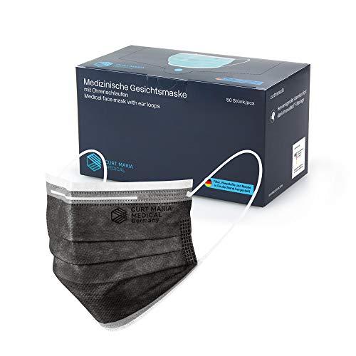CURT MARIA MEDICAL 50 Stück Medizinische Gesichtsmasken, 100% MADE IN GERMANY, Mundschutz 3-lagig mit Ohrenschlaufen zum Einmalgebrauch, Typ IIR zertifiziert nach EN 14683, Anthrazit/Schwarz
