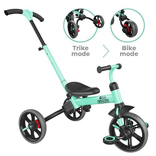 YVOLUTION Yvelo Flippa evolutionäres Laufrad-Trike Kinderlaufrad Draisine grün - Alter 3-5 Jahren
