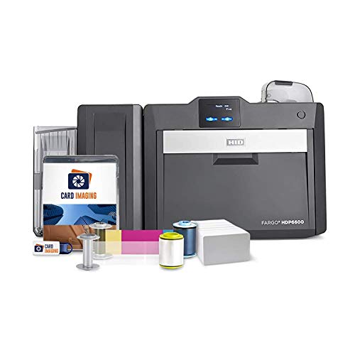 Fargo HDP6600 Dual Sided 600 DPI ID Card Printer & Supplies Bundle with Card Imaging Software 94640