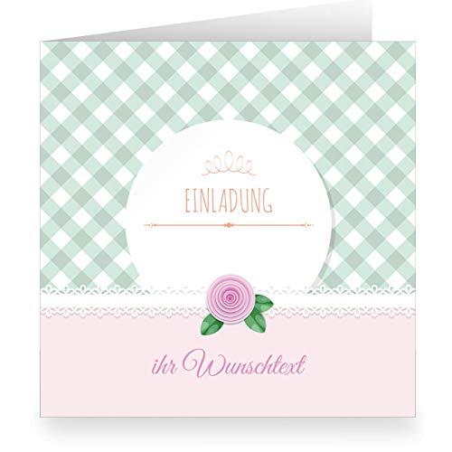 Set 24 x Festliche rosa Einladungskarte mit Wunschtext und Innendruck/Vordruck zum Ausfüllen (quadratisch, 15,5x15,5cm inkl Umschlag)- große XL Karte zur Taufe, Erstkommunion, Einschulung, Firmung