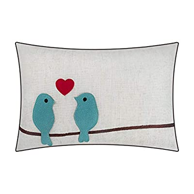 JWH Wool Accent Pillow Cases Birds Love Decorative Cushion Covers Home Sofa Chair Car Bed Living Room Decor Pillowcases Gift 12 x 18 Inch Teal Blue