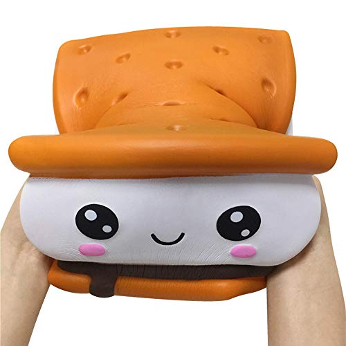 ACCOCO 8 inch Jumbo Squishy Toys, Kawaii Cute Chocolate Smores Biscuit Kawaii Soft Slow Rising Scented Squishy Food Bread Squishies Stress Relief Kid Toys(Smores Biscuit)