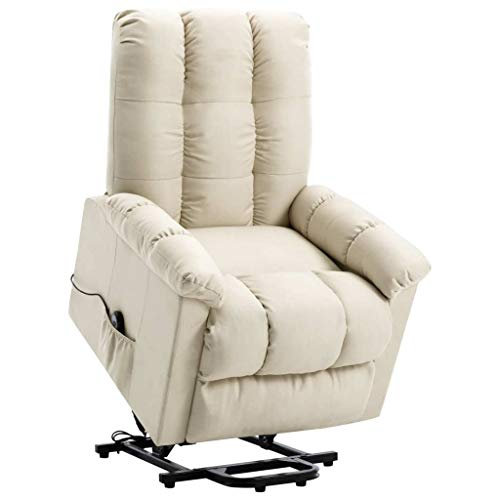 vidaXL Sessel mit Aufstehhilfe Elektrisch Aufstehsessel Liegesessel Fernsehsessel Relaxsessel TV Ruhesessel Polstersessel Creme Stoff