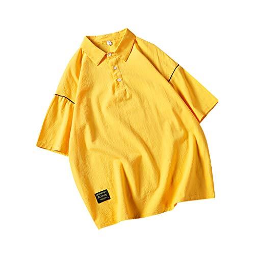 Tyoby Herren Lässiges, kurzärmliges Revers Shirt mit Nähten,Straße Trend Hip Hop Tops (Gelb,XXL)