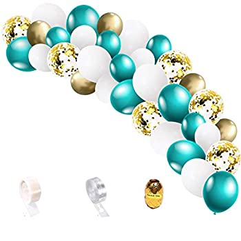 Furuix Teal Gold Birthday Decorations for Women 33pcs Teal White Gold Balloon Garland Gold Confetti Balloon Arch Bridal Shower/Wedding/Teal Gold Bachelorette