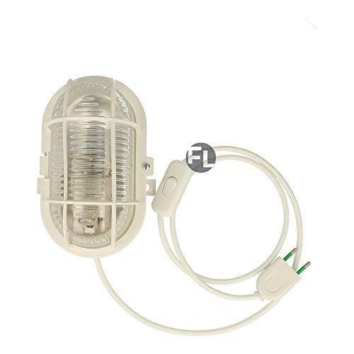 Bulkhead Kellerlampe Oval mit 3 Meter Textilkabel Schalter und Stecker für E27 Led Leuchtmittel im Retro Design inkl fitting Max 60 Watt IP44 (weiß, Gehäuse weiß)