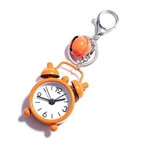 miaoyu Lindo mini reloj despertador llavero pequeño reloj llavero para mujer, hombre, coche, llavero de coche, colgante de joya, regalo de recuerdo (color naranja)