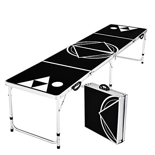 COSTWAY Beer Pong Table, 8ft Folding Picnic Trestle Tables with 2-Level Adjustable Height & Carrying Handles, Wedding Market Garden Camping Table for Indoor Outdoor