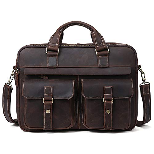 Men's Briefcase Laptop Messenger Bag First Layer Crazy Horse Leather Handbag Can Hold 15.6 inch Laptop Phone Thermos