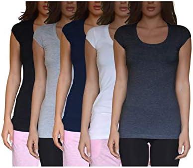 Sexy Basics Womens Round Neck Short Sleeve Long Tunic Cotton Stretch Cap Sleeve Crew T Shirt product image