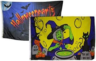 Moon Knives 3x5 Happy Halloween 2 Pack Flag Wholesale Set Combo #21 3x5 Banner Grommets - Party Decorations Supplies For P...
