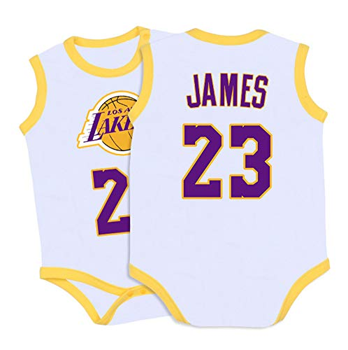 Krabbelnde Overalls Baby Lakers James # 23 Basketball Trikots Siamesisches Kostüm Baby Sportswear Basketball Training Shorts Sets-White-73(cm)