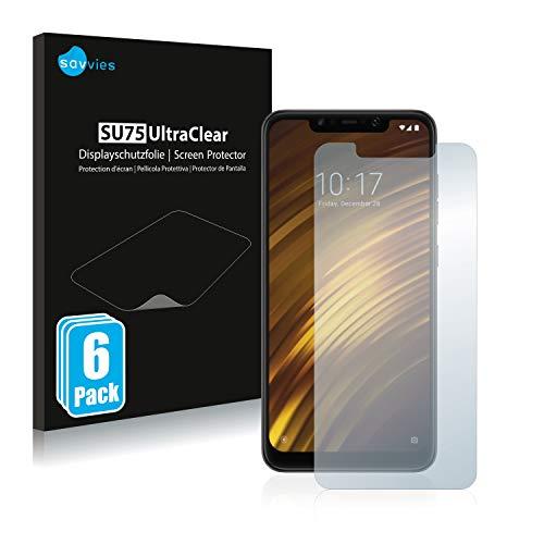 Savvies 6X Schutzfolie kompatibel mit Xiaomi Pocophone F1 Bildschirmschutz-Folie Ultra-transparent