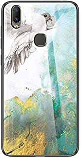 SDDLRMM Glass Case & Cover For Vivo Y11 2019 Case Cover, Marble Pattern Ultra Slim 9H Tempered Glass with Soft TPU Silicone Bumper Protective Back Cover for Vivo Y11 2019 (Color : Colorful)