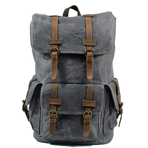 Glqwe Laptop reisrugzak, Retro regenjas Waxed Canvas en leer bergbeklimmen Rugzak Grote capaciteit Oppervlakkige Mode Rugzak