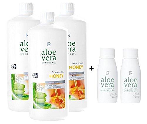 LR Aloe Vera Drinking Gel Honey / Honig 3 x 1000 ml plus 2 x Aloe Vera Rotationsflasche (unbefüllt) für unterwegs, 90 ml