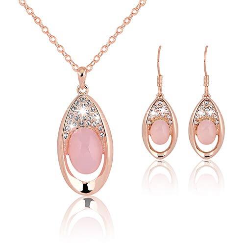 Cool-House-Jewelry shop Halskette Ohrringe Natürlicher Kristall Hibiscus Steinpulver Kristall Female-Schmuck-Set Ornament Göttin Schmuck, Ca088-A