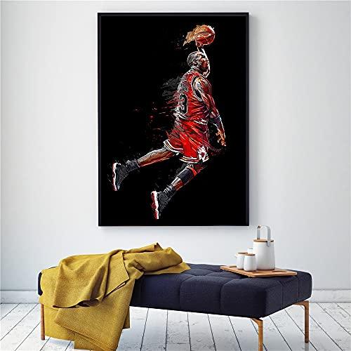 Baloncesto deportes leyenda jugador estrella Michael # 23 Jordan Fly Slam Dunk lienzo pintura pared arte cartel chico fans dormitorio sala de estar Club decoración del hogar Mural