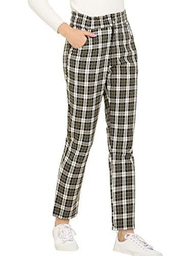 Allegra K Pantalones A Cuadros Escoceses con Bolsillo Cintura Alta Elástica Pantalones De Oficina Trabajo para Mujeres Negro XS