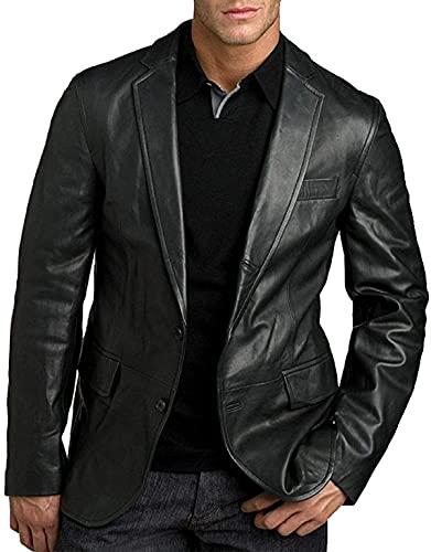 HiFacon Chaqueta clásica de cuero Slim Fit Casual Blazer para hombre (negro)