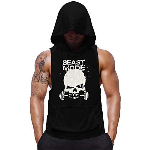SZKANI Mens Skull Print Sleeveless Fitness Vest Bodybuilding Stringers Workout Tank Tops (X-Large, Black(Single Dumbbell))